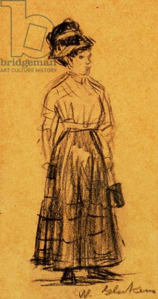 Woman in Black Hat and Black Skirt (pencil on paper)