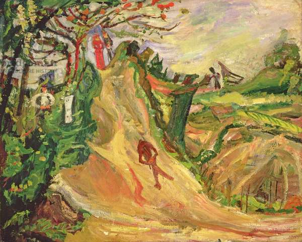Hill with a Man on the Road (oil on canvas)