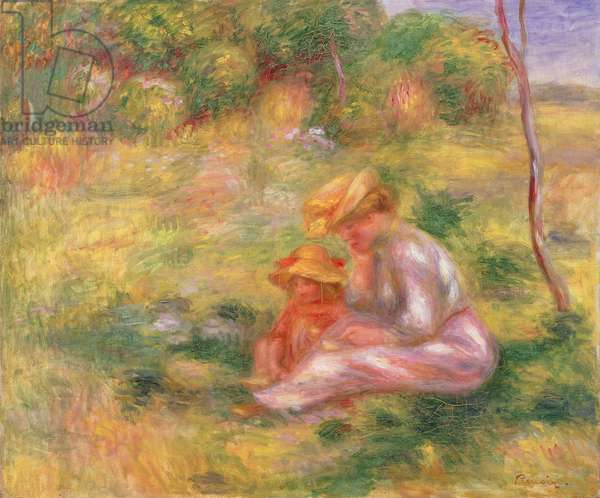 Woman and Child sitting in a Field, c.1898 (oil on canvas)
