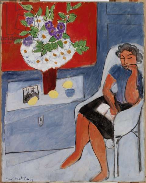 Woman Seated near a Chest with Flowers, 1939 (oil on canvas)
