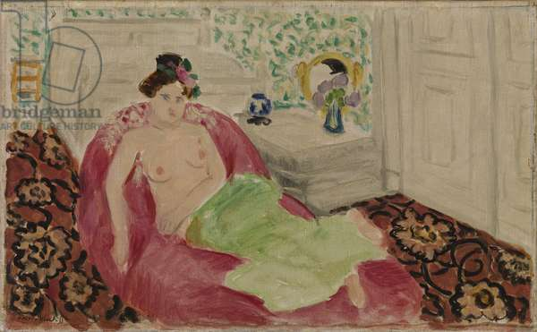 Semi-Nude on a Red Couch, 1919 (oil on canvas)