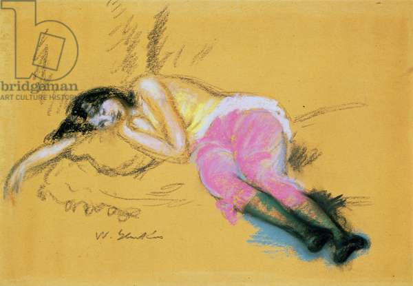Girl Asleep (pastel on paper)