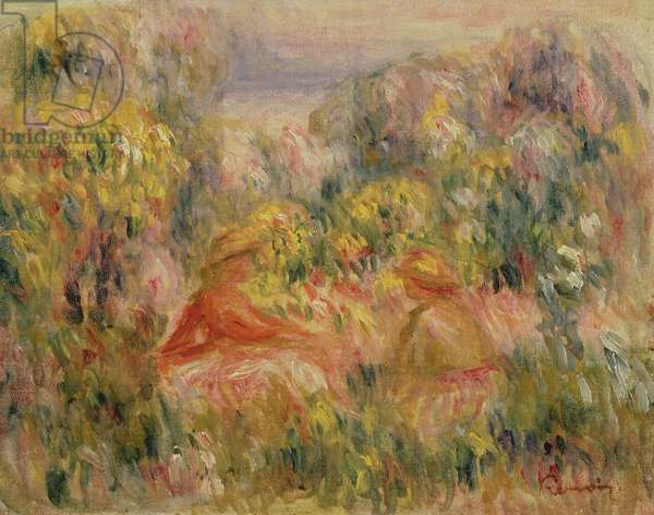 Two Figures in Landscape, 1917-19 (oil on canvas)