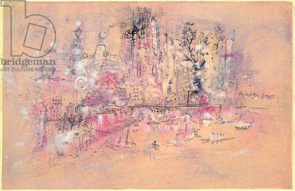 City River, 1950 (w/c on paper)