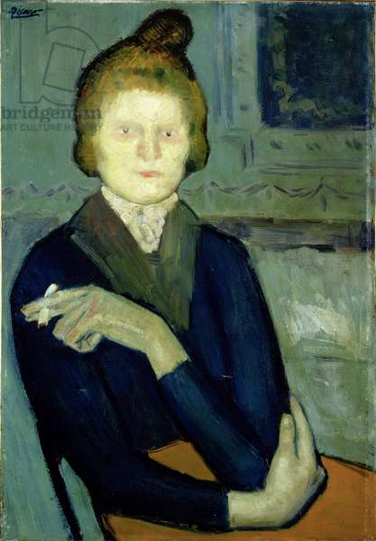 Woman with a Cigarette (oil on canvas)