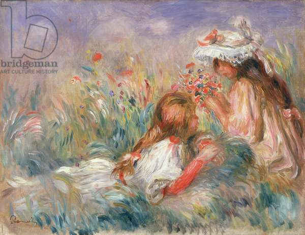 Two Children Seated Among Flowers, 1900 (oil on canvas)