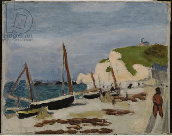 Beach at Etretat, 1920 (oil on canvas)