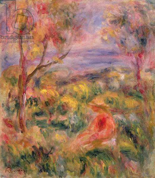 Girl and Two Trees in a Landscape, 1917 (oil on canvas)