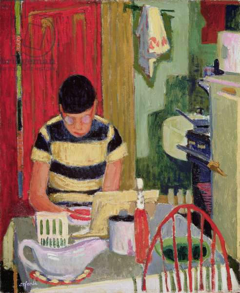 Interior with Jim (oil on canvas)