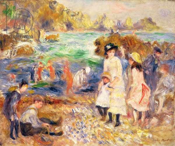 Beach Scene, Guernsey (Enfants au bord de la Mer a Guernsey) 1883 (oil on canvas)