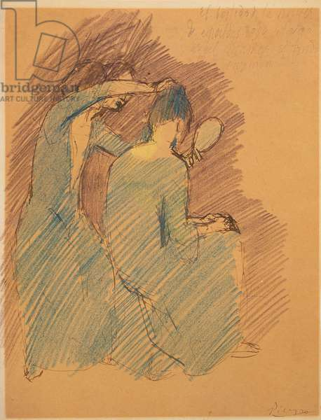 Two Women in Blue Fixing Hair (pastel on paper)