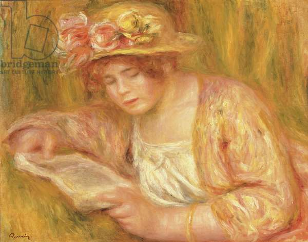 Woman with a Hat Reading, c.1917-18 (oil on canvas)
