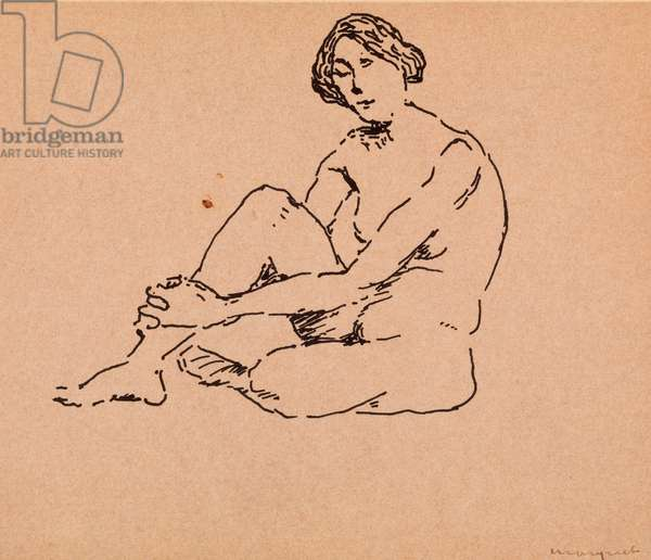 Nude Seated (pen and ink on paper)