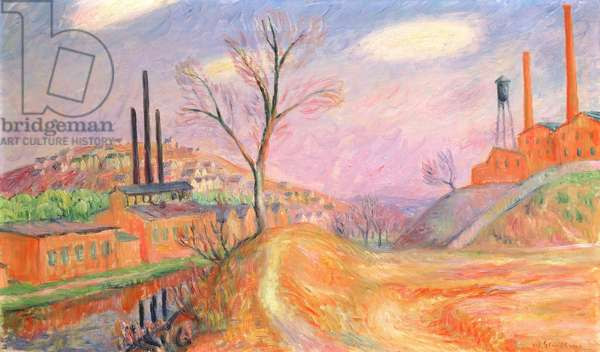 Factories in a Landscape (oil on canvas)
