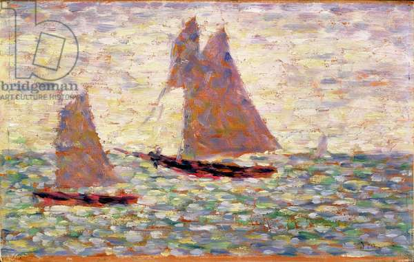 Two Sailboats at Grandcamp, c.1885 (oil on panel)