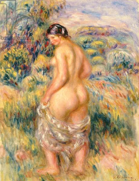 Standing Nude in a Landscape (oil on canvas)