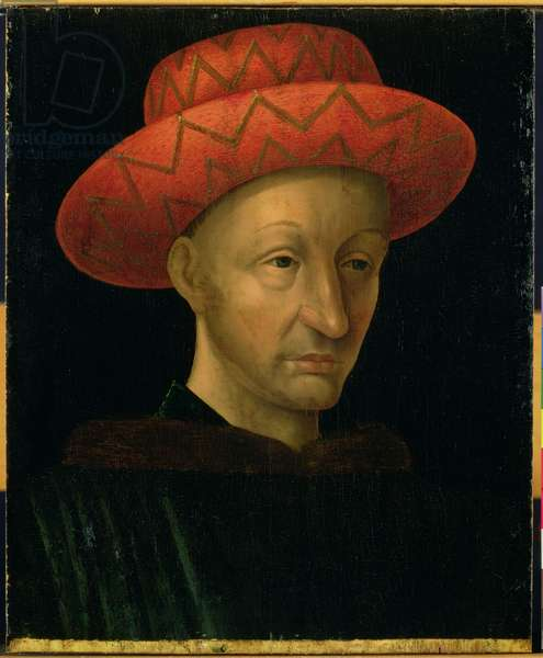 Portrait of Charles VII (1403-61) (oil on panel)