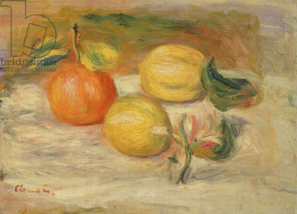 Apples and Two Lemons (oil on canvas)