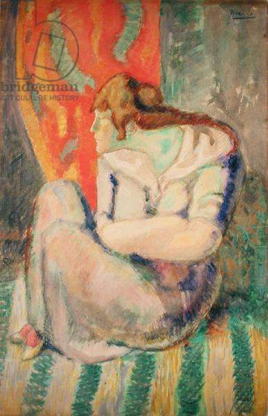Woman Seated on a Striped Floor (w/c on paper)