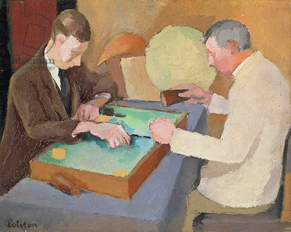 Two Men Playing Backgammon (oil on canvas)
