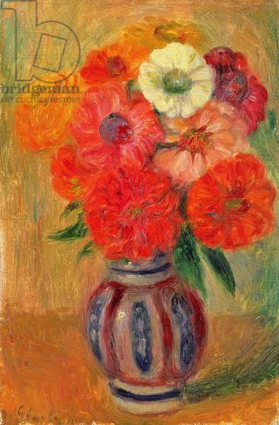 Zinnias in a Striped Blue Vase (oil on canvas)
