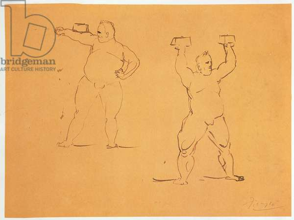 Men with Weights (pen and ink on paper)
