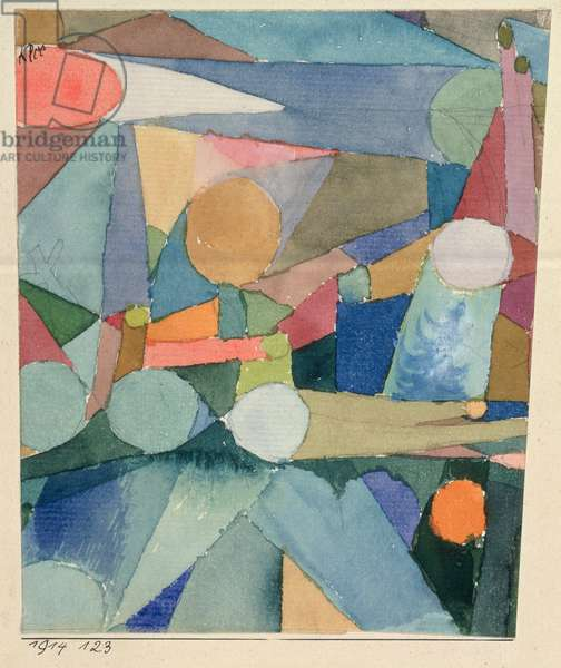 Colour Shapes, 1914 (no 123) (w/c and pencil on paper on cardboard)