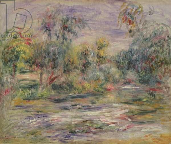 River Landscape (Blues) (oil on canvas)