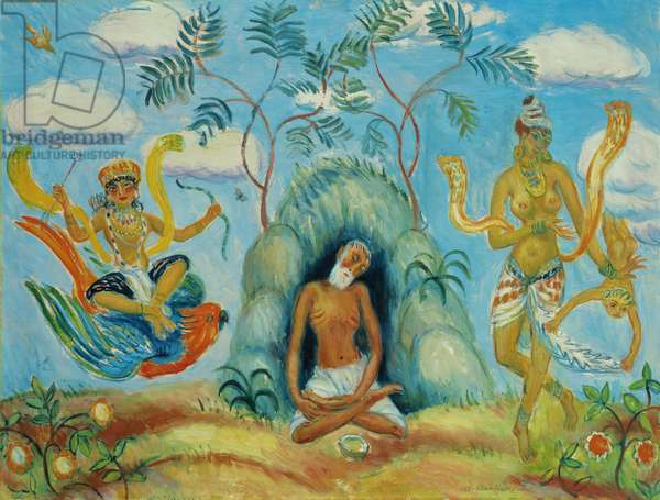 Krishna and Foolish Maidens (oil on canvas)