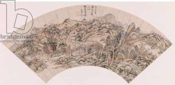 Fan depicting a mountainous landscape (ink on paper)