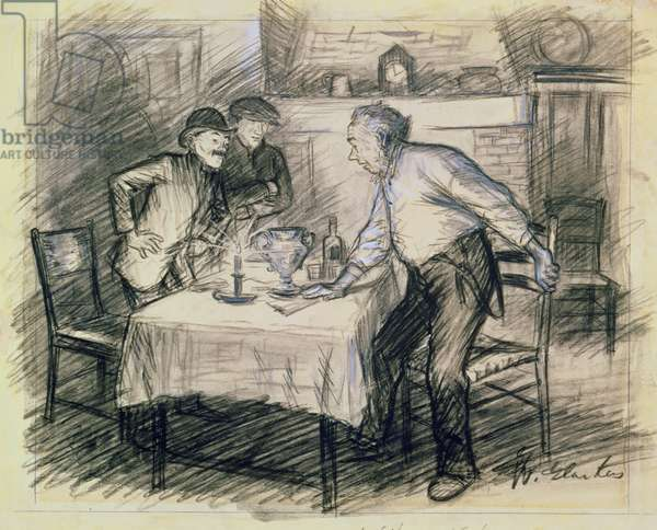 Interior with Three Men Getting Up from a Table (pencil and wash on paper)