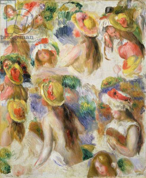 Study of Girls Wearing Hats (oil on canvas)