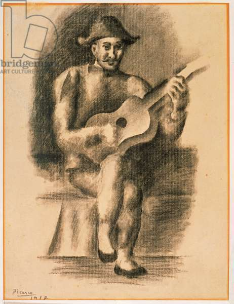 Man with a Guitar, 1917 (charcoal on paper)