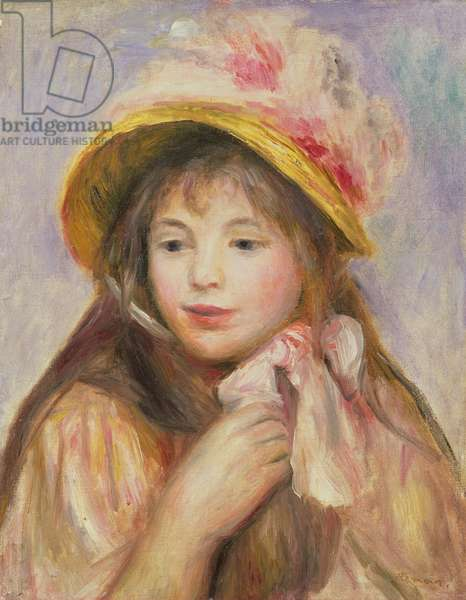 Girl with Pink Bonnet, c.1890 (oil on canvas)