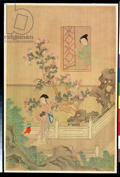 Woman in Garden (ink on silk)