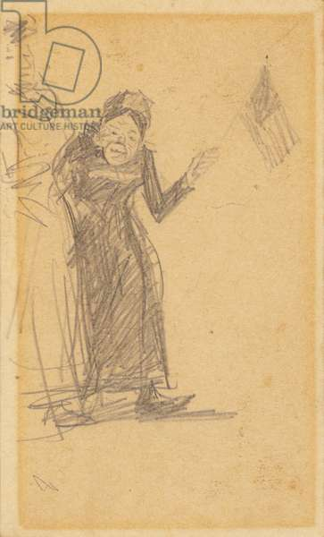 Woman Waving Flag (pencil on paper)