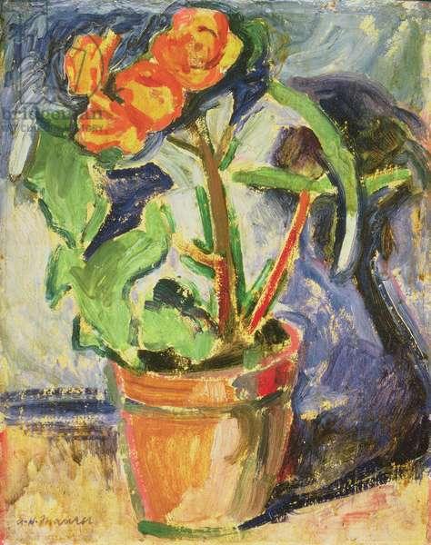 Pot of Flowers (oil on panel)