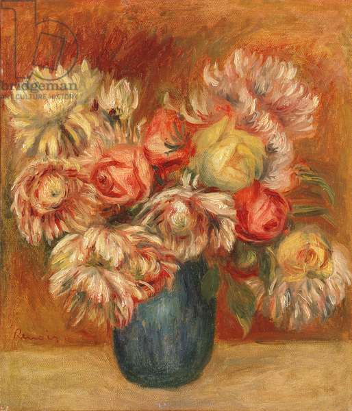 Chrysanthemums in a Green Vase (oil on canvas)