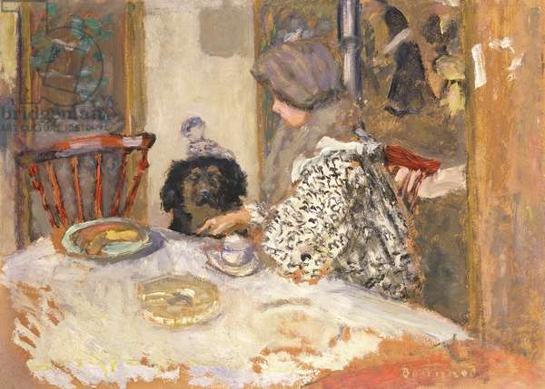 Woman with a Dog at the Table (oil on board)