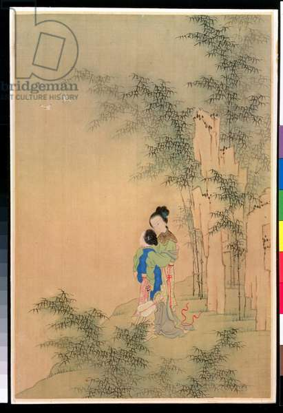 Two Figures Embracing (ink on silk)