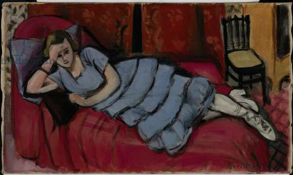 Repose (Girl in Blue on Red Couch) 1923 (oil on canvas)