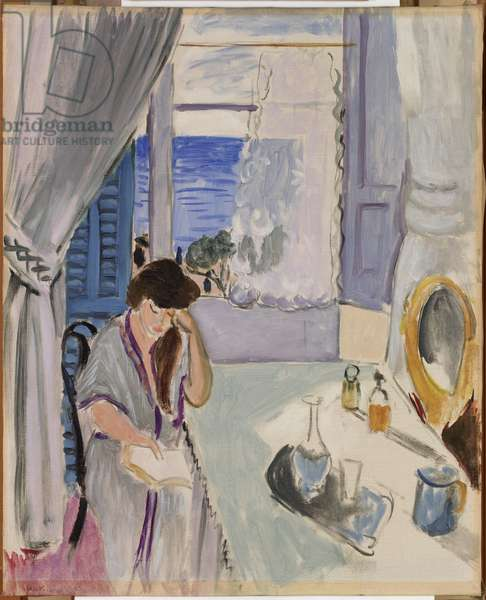 Woman Reading at a Dressing Table (Interieur, Nice) 1919 (oil on canvas)