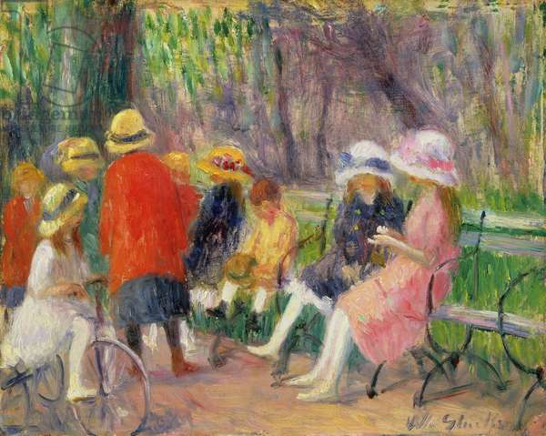 Children in the Park (oil on canvas)