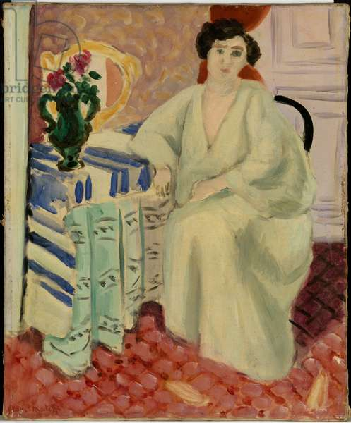 Interior with a Seated Figure at Dressing Table, 1920 (oil on canvas)