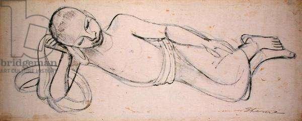 Arab Boy Reclining (black chalk on paper)