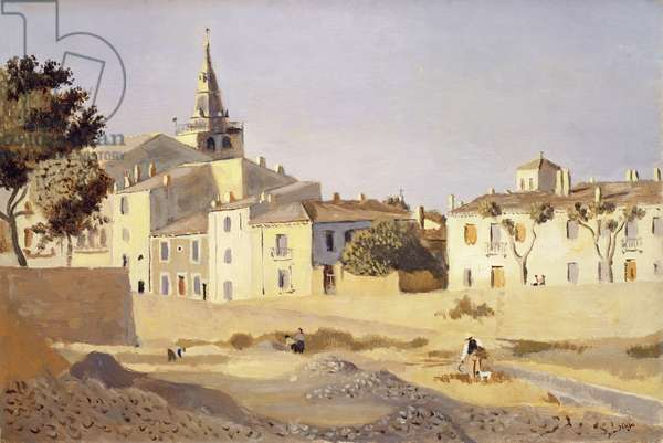 Landscape with Church Steeple (oil on panel)