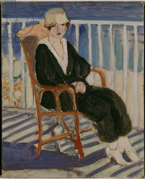 Girl in a Black Dress on a Balcony, 1917 (oil on canvas)