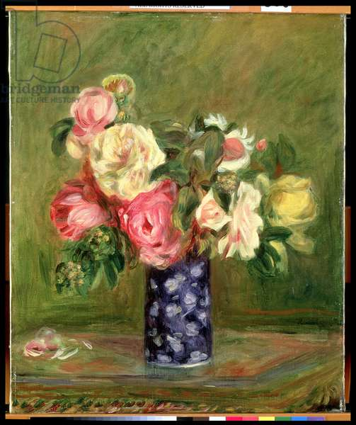 Roses in a Blue Vase (oil on canvas)