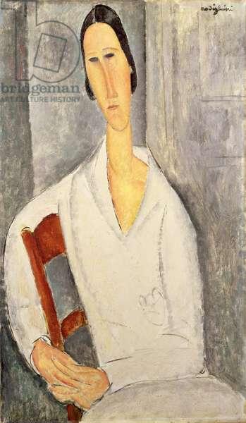 Madame Hanka Zborowska Leaning on a Chair (Madame Hanka Zborowska accoudée à une chaise) 1919 (oil on canvas)