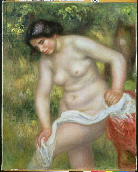 Bather Drying Herself with a White Cloth (oil on canvas)